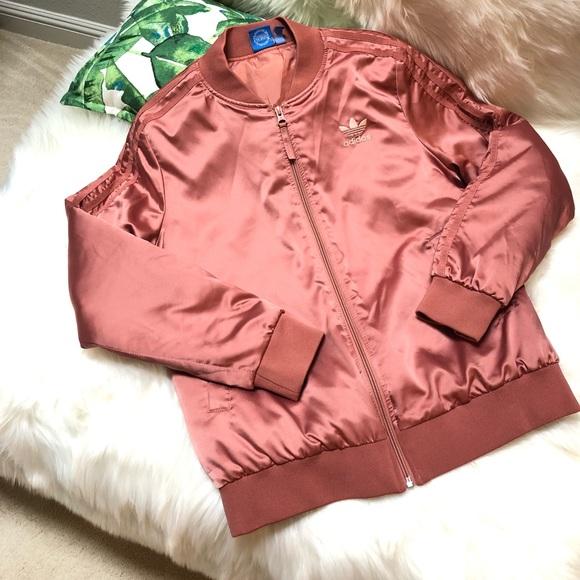 adidas Jackets & Blazers - Adidas Satin bomber in salmon pink